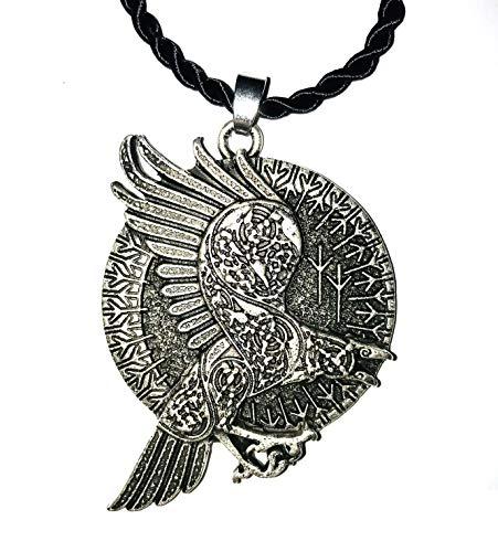 Collar de cuervo celta con círculo de runas vikingos – Colgante 3D grabado en la parte delantera y trasera – Potente símbolo místico esotérico alquímico – Regalo original Unisex Mujer Hombre