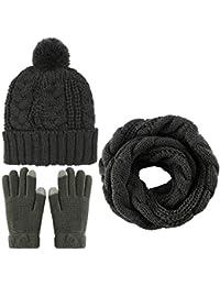 Aneco Winter Warm Echarpe Tricotée Bonnet Bonnet et Gants Ensemble Hommes    Femmes Soft Stretch Hat 2ea9d49f44a