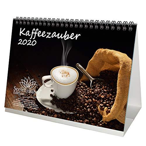 Kaffeezauber DIN A5 Tischkalender 2020 Kaffee Geschenk-Set: Zusätzlich 1 Grußkarte und 1 Weihnachtskarte - Seelenzauber