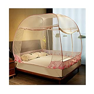 Ajusen Mosquito Nets,Popup Dome Tent Design,Net-Free Installation Mosquito Nets and Folding Nets Full Coverage Protection Prevent Insect Great For Indoor and Outdoor Use (120x200x170cm, Pink)