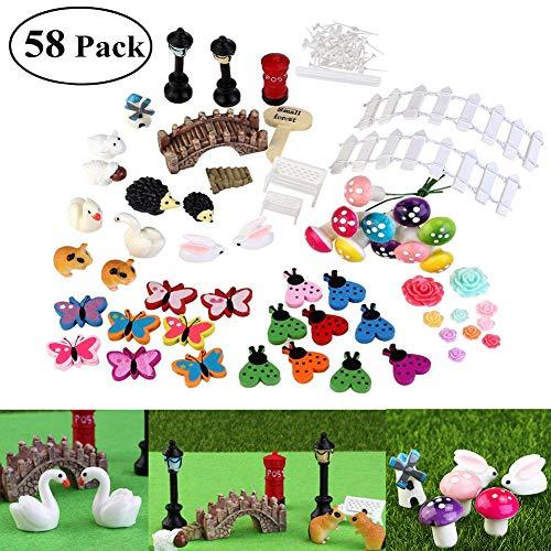 Fairy Garden Zubehör Miniaturen Ornamente Kit für Puppenhaus Pflanze Landschaftsbau Dekoration Kinder Geschenk DIY Pack von 58 (Fairy Garden Kit)