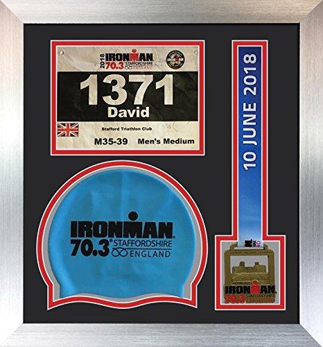 Kwik Picture Framing Ltd Ironman Staffordshire 70.3 Triathlon Marathon, Running Medal, Swimming caps Display Frame, Black Mount - Silver Frame