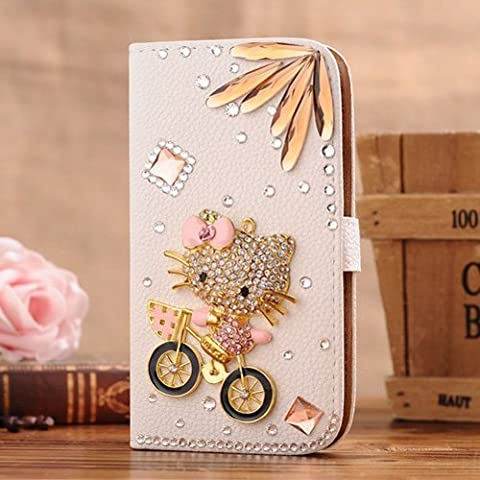 C-GUESS Apple iPhone 5 5G 5S Jewelry Bling Diamond Gem Leather Smart Case Cover With Magnetic Flip Horizontals & Card Holder - Bike and Kitty Cat