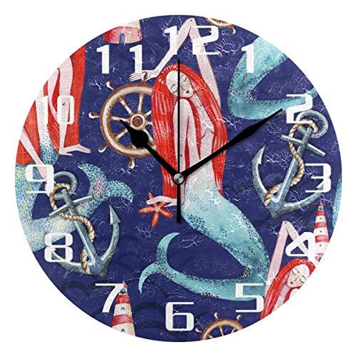 ALARGE Wanduhr Aquarell Meerjungfrau-Muster geräuschlos Nicht tickend Digital Uhr Acryl Dekoration Küche Home Office Klassenzimmer Kunst