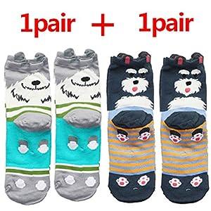 CXKWZ Damensocken 1 para Baumwolle Frauen Socken Cartoon Chrismas Socke Lustige Bunte Muster Wintermode Weibliche Socken Gestreifte Warme Socke Tier