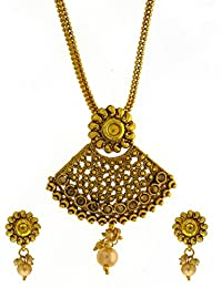 e9644bcf12 Anuradha Art Stylish Gold Finish Peach Colour Studded With Stones & Gold  Beads Traditional Pendant Set