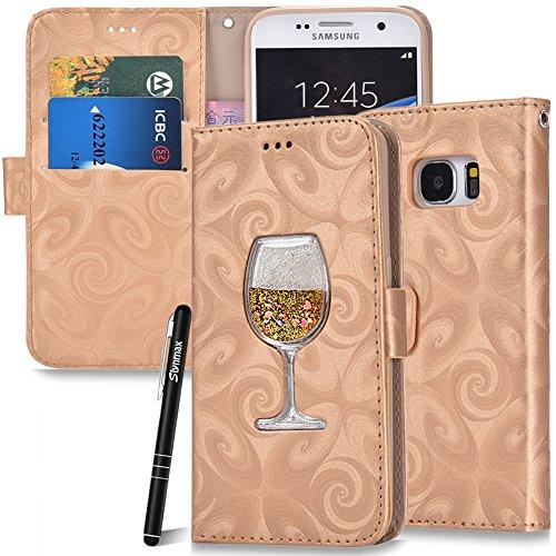 Glitzer Hülle für Samsung Galaxy S7,Samsung Galaxy S7 Flip Case Handyhülle Leder,Slynmax Treibsand Glitzer Hülle Wallet Klapphülle Karten Ständer Schutzhülle für Samsung Galaxy S7,Champagner Gold