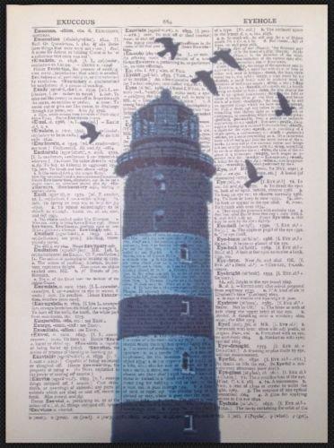 Stampa artistica con faro e pagina scritta, stile Vintage, colore: blu