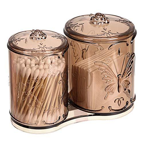 Acryl-Makeup Cotton Pad Q-Tips Holder mit Cover 2 Fach Cotton Ball Swab Stick Organizer Storage Case Apothecary Jar Container für Makeup Pinsel, Makeup Sponges,Brown Cotton Ball Holder