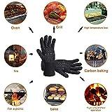 Aibeau Grillhandschuhe Ofenhandschuhe Grill Lederhandschuhe Hitzebeständige bis zu 800 ° C Universalgröße Kochhandschuhe Backhandschuhe für BBQ Kochen Backen