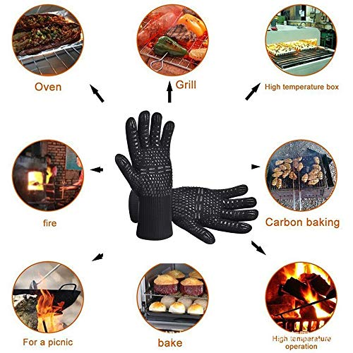 Aibeau BBQ Gloves Grill Gloves, Heat Resistant Up to 800 ° C Universal Size Oven Gloves Cooking Gloves for BBQ, Grill, Cooking, Baking - Black