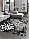 Designer Teppich Wohnzimmerteppich Kurzflor Konturenschnitt barock grau weiß schwarz Größe 200 x 290 cm