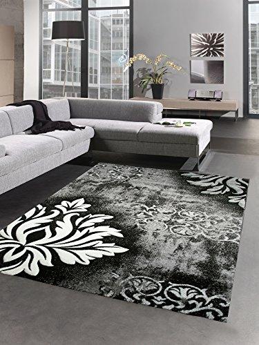 Designer Teppich Wohnzimmerteppich Kurzflor Konturenschnitt barock grau weiß schwarz Größe...