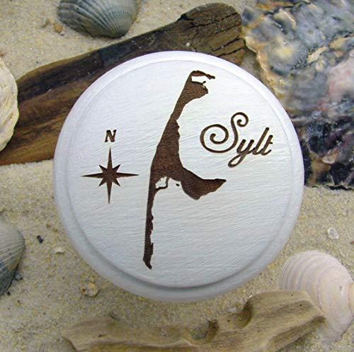 Möbelknauf Sylt Nordsee Holz weiß Gravur friesisch -