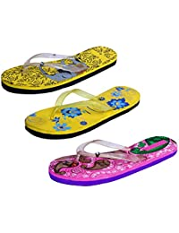 IndiWeaves Womens Rubber Printed Hawaii Slipper House Flip Flop(Pack Of 3) - B079TY439Q
