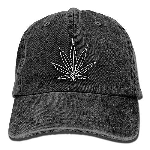 Voxpkrs Unisex Erwachsene Marihuana Unkraut Washed Denim Baumwolle Sport Outdoor Baseball Mütze Trucker Cap Einstellbar One Size Red DV2171
