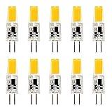 COB-LED-Lampen, 10 Stück 2.5 W G4, LED, 12 V, dimmbar, COB-LED mit 2 Pins, Warmweiß, 3500 K, Ersatz für G4-20W-Halogen-/Glühlampen