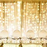 LE 3m x 6m Lichtervorhang, LED Lichterkette 306 LEDs mit 8 Lichtmodi, Strombetrieben mit Stecker, ideale Weihnachtsdeko für Innen, Vorhang, Deko, Haus, Fenster, Bett usw. Warmweiß