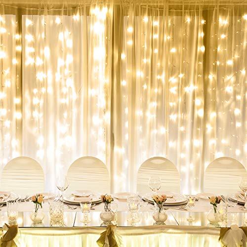 LE Cortina de Luces LED, 6m x 3m 594 LED 8 Modos, Blanco Cálido, para Decoración Navidad, Fiestas, Bodas, etc.