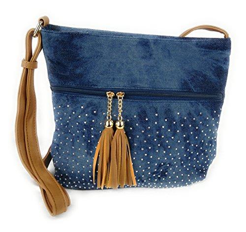 Blaue Nieten-handtasche (Süße Jeans Style Umhängetasche mit 2 Troddeln und kleinen Steinchen/Nieten - Glitzereffekt - Maße ohne Henkel 29x25x12 cm - Damen Mädchen Teenager Tasche - Used Look Style (dunkelblau/braun))