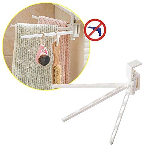 Amaoma 180° rotazione gancio portasciugamani, rotativo regolabile largo girevole porta asciugamani asciugamano ganci, ganci a parete per cucina bagno 26*9.7cm, 3 braccia (bianco)