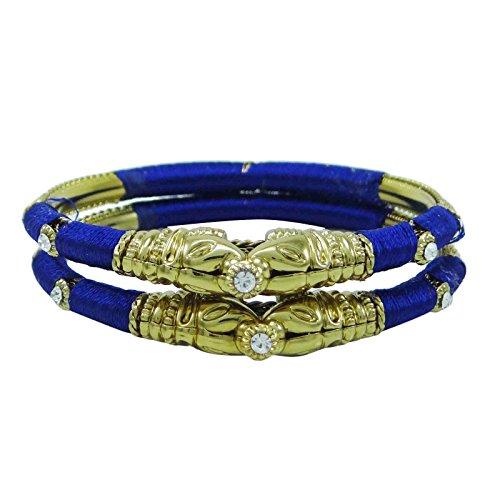 Banithani Goldtone Seidenfaden gewickelt schöne Armreifen indische Armbänder Schmuck 2 * 8