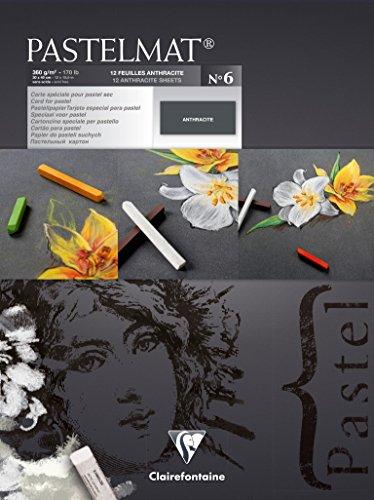 Clairefontaine 96050C Zeichenblock Pastelmat (kopfseitig geleimt, 12 Blatt, 30 x 40 cm, 360 g, mit 4 transparenten Trennblättern, Spezielkarton ideal fur Pastell und Kreide) anthrazit (Business Card Stock Papier)