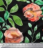 Soimoi Orange Viskose Chiffon Stoff Blume & Blätter