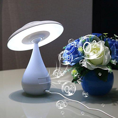 Lampe Tactile de chevet Purificateur d'air ionique Lampe de sommeil 3 en 1 LED Veilleuse 3W Lampe de Bureau Champignon Rechargeable USB Stérilisation Dépoussiérage