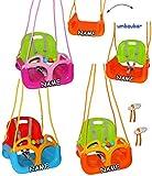 Unbekannt mitwachsende - Gitterschaukel / Babyschaukel mit Gurt -  ROSA / PINK  - incl. Name - Leichter Einstieg ! - verstellbar & mitwachsend - belastbar 100 kg - Ki..