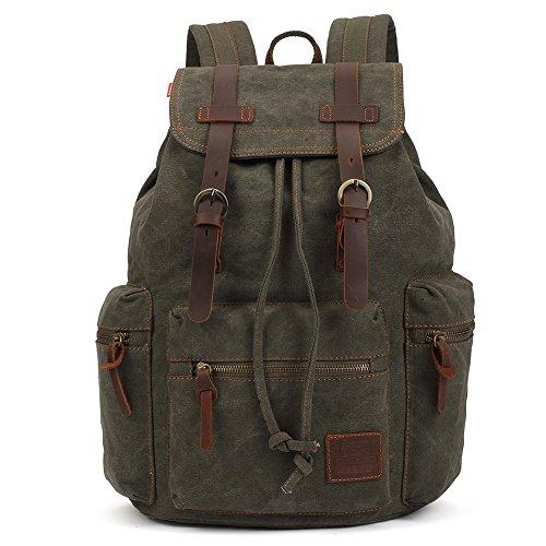 Army Herren-leder (Vintage Rucksäcke 15 Zoll, KAUKKO Damen Herren Schulrucksack Daypack Retro Stylisch Backpack für Outdoor Wanderreise Camping mit Großer Kapazität 27×16×41 cm (Army Grün02))