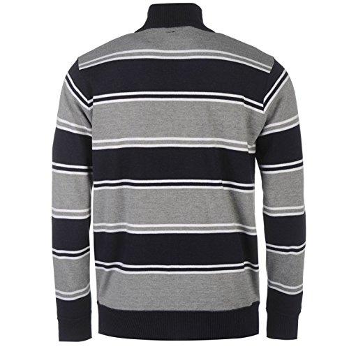Lee Cooper Hommes Tricote Zip Top Sweater Top Haut Decontracte Manche Longue Bleu Marine/Gris M
