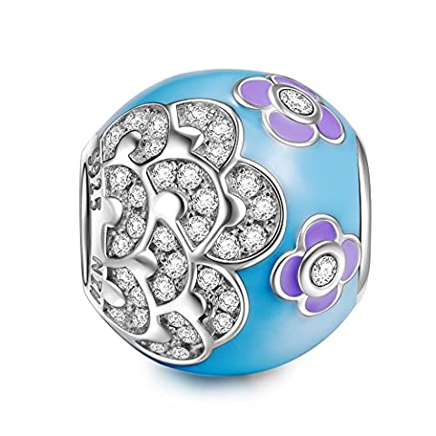 NinaQueen Spring flower 925 Sterling Silver Bead for women fit charms bracelet Christmas Gifts Birthday gifts san valentines Mothers Day Anniversary Wedding Gift For Mother Wife Daughter