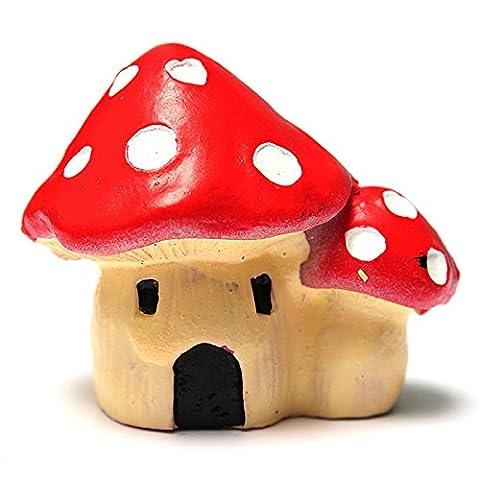 Bluelover Les Champignons Maison Bricolage Miniature Ornements Decor Jardin De Plantes En Pot-Rouge