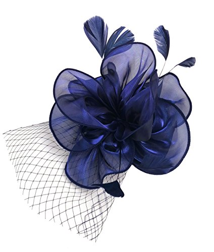 EEVASS Damen Tulle Feather Fascinator Cocktail Hut Haarclip Hochzeit Derby Party (##2 Nave blau) (Bowler Hut Frauen Kostüm)