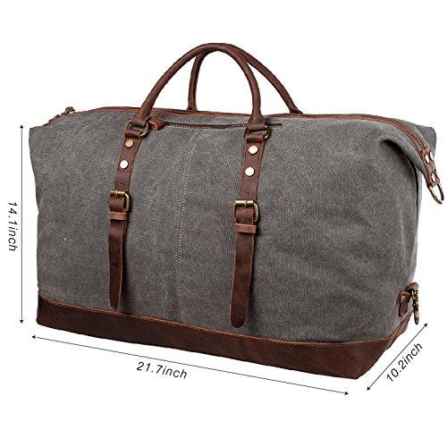 Aidonger Unisex Canvas und Leder Reisetasche Umhängetasche Handtasche Sporttasche (Grau) Grau
