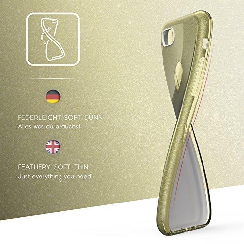 Urcover® Apple iPhone 7 Plus Glitzer Handy Schutz-Hülle | 2in1 Backcase in Rose Gold | TPU Cover | Smartphone Zubehör Schale Case Gold