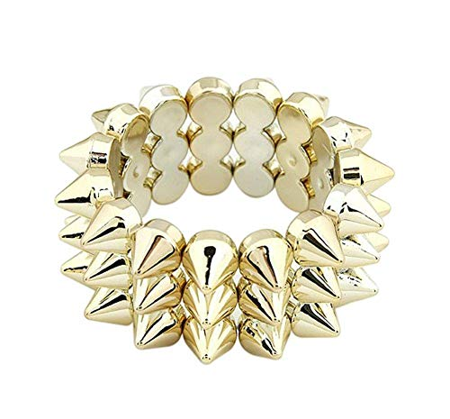 Hoveey Nieten Armband Armreifen Spitznieten Modeschmuck Armkett Spike Stacheln Nieten Statement Kette Punk Gothic in Gold