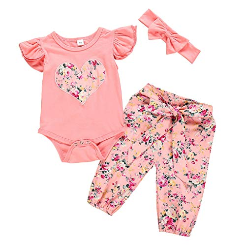 ❤❤JiaMeng Newborn Baby Girls Clothing Set, Summer Baby Girls Short Sleeve Romper +Floral Trousers Suits with Headband Casual Outfits Sets(3M-24M) Floral Short Sleeve Romper