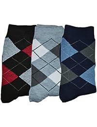 Me Stores Men's Crew Length Socks (Pack Of 3) (Mens-Dimond_Blue Black Grey)