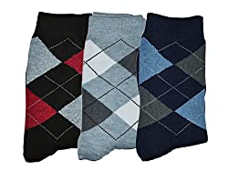 Me Stores Men's Crew Length Socks (Pack Of 3) (Mens-Dimond_Blue Black Grey)