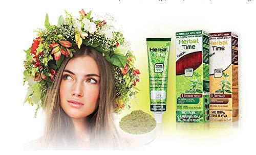 Herbal Time, tinte de henna en crema sin amoniaco es un producto novedoso, hecho con sustancias naturales con un efecto de duración media del teñido del cabello. Apto para: teñirse solo el cabello, mantener el color entre dos tintes oxidantes, hacers...