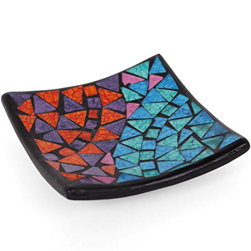 Mosaic Candle Plate Rainbow Key Coin Soap Dish 11cm 4 inch