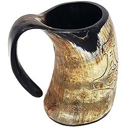 Jarra de cerveza de cuerno hecha a mano, tamaño grande de 15,2 cm, estilo vikingo de Thor y Juego de Tronos, 473 ml