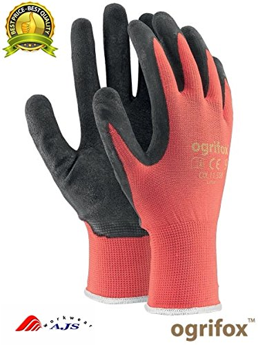 24Paar neue Latex beschichtet ARBEITSHANDSCHUHE Sicherheit Langlebig Garten Grip Builders, L - 9, Black / Red, 60 (Arbeitshandschuhe Latex Beschichtet)