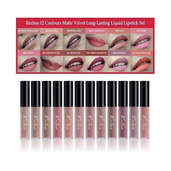 Rechoo 12 Pcs Barra de Labios Mate/Superstay Matte Pintalabios Maquillaje de Belleza Brillo Labial Terciopelo (CLASSIC…