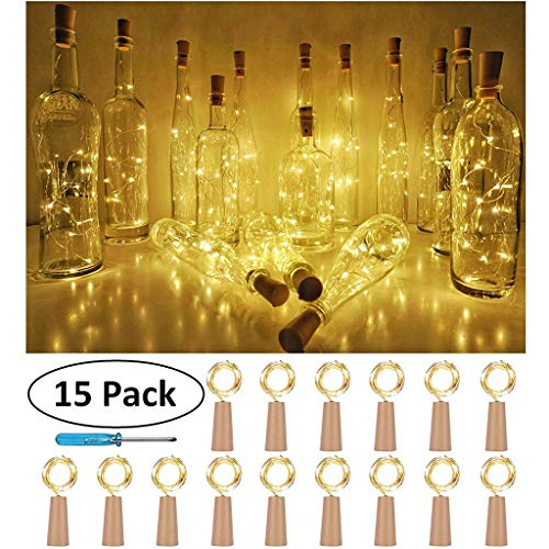 DIKHBJWQ 15 STÜCKE Flasche Lichter Kork Form Für 1 Mt 10 LED Weinflasche String Party Romantisch (Lichterkette/Light/Tischlampe/Nachttischlampe/Nachtlicht) (Ente Kuchen-form)