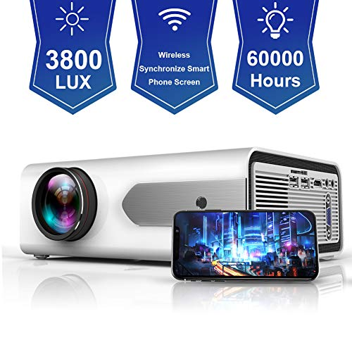 HOLLYWTOP Home Cinema Projector, Mini Projector, Upgraded 3800 Lumens Video  Projector with Max 180