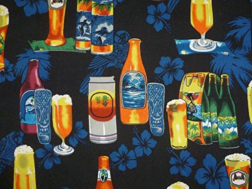 King Kameha | Funky Chemise Hawaïenne | Hommes | XS - 6XL | Manche-Courte | Poche-Avant | Hawaiian-Imprimer | Bière Fleurs Party | noir Noir