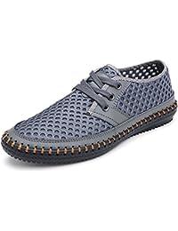 CUSTOME Herren Schuhe Leder Eben Schlüpfen Fahrende Schuhe Weich Schnüren Atmungsaktiv Freizeit Leicht Gemütlich Beiläufig Schuhe Khaki t9jpa3x9yD